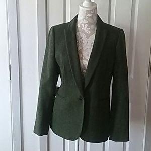 J.Crew green tweed wool blazer.